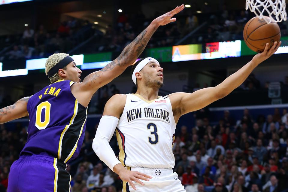 Los Angeles Lakers v New Orleans Pelicans. Josh Hart Scores over Kyle Kuzma