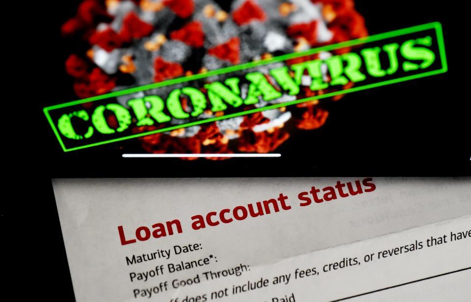 Image of virus, 'coronavirus' and 'Loan account status.'