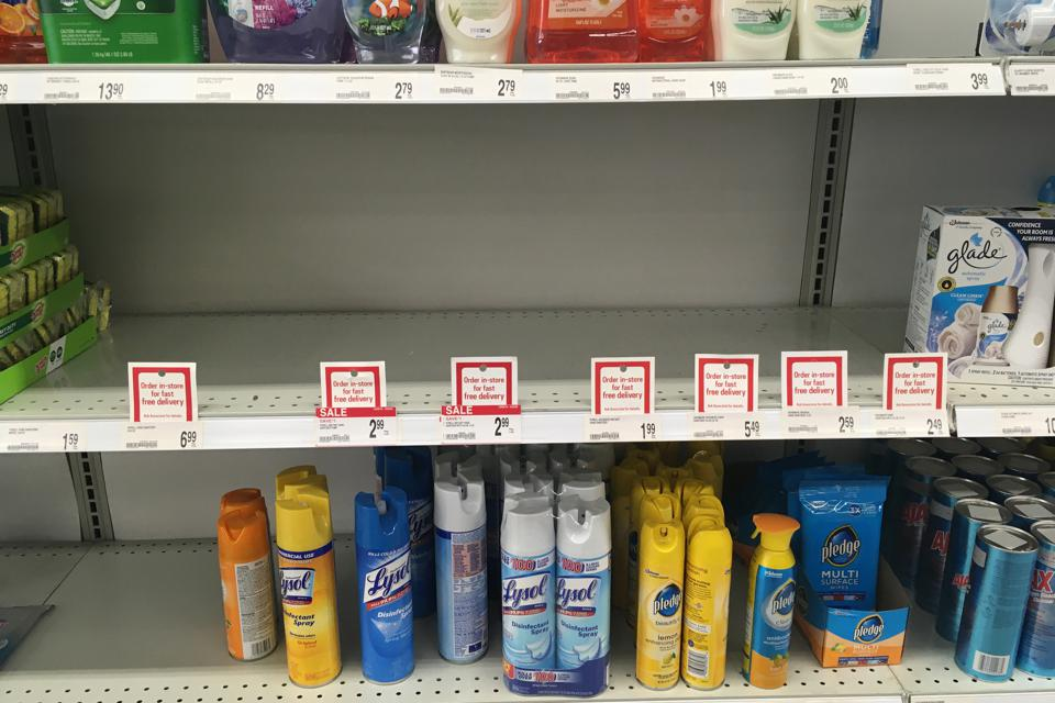 Hand sanitizer is out stock on shelves at Office Depot in northeast Minneapolis. on Monday, March 2, 2020.