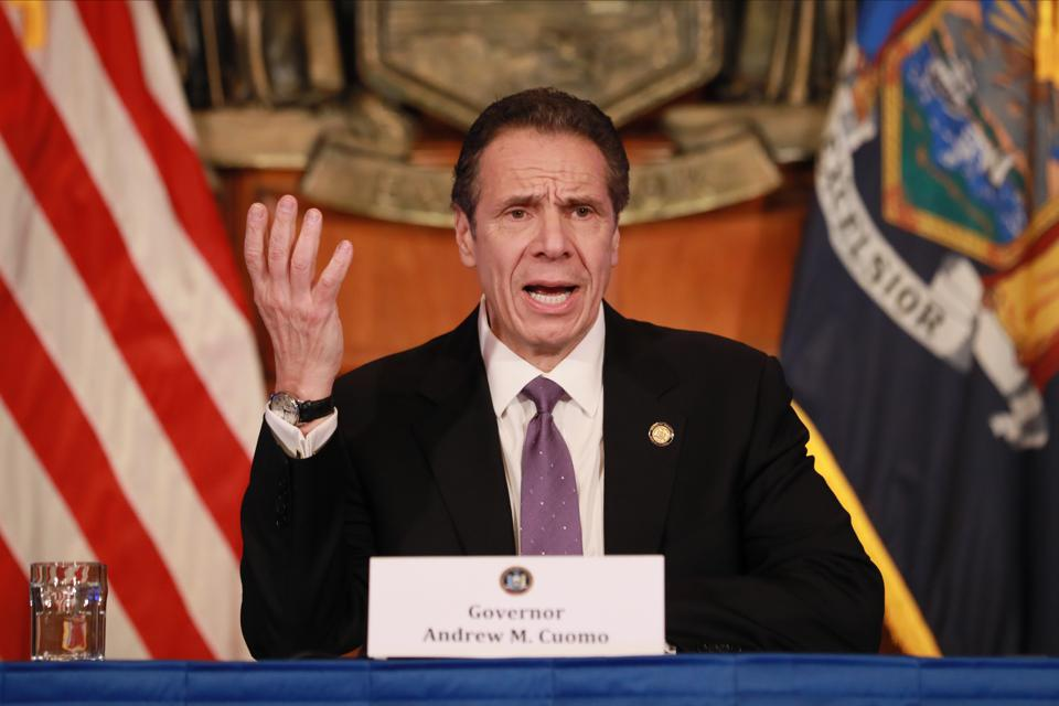 New York Governor Andrew Cuomo Holds His Daily Coronavirus Briefing In Albany