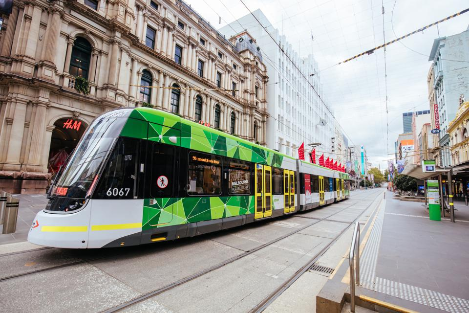 Tram in Quiet Melbourne Streets During Covid-19 lockdown Australia