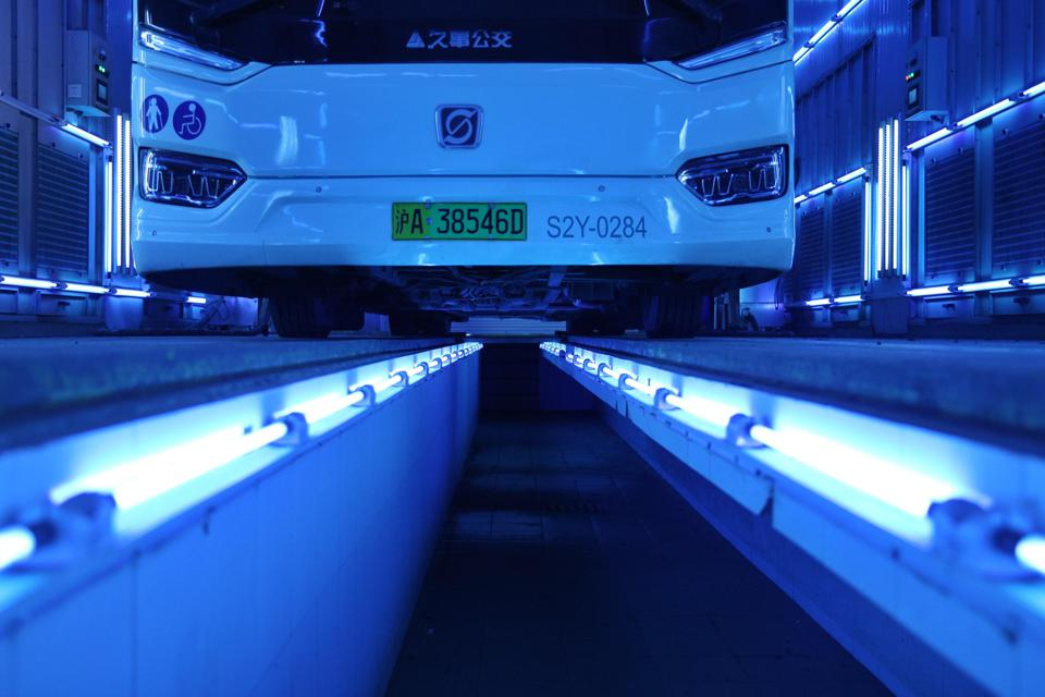 Buses Disinfected By Ultraviolet Light In Shanghai