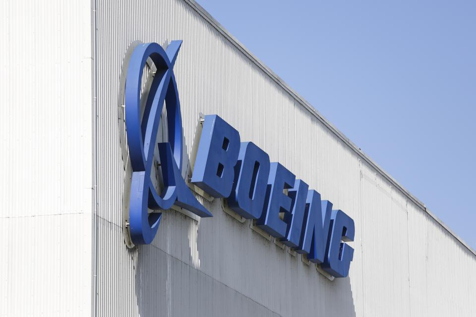 The Boeing logo is pictured at its Renton Factory, where the Boeing 737 MAX airliners are built in Renton, Washington