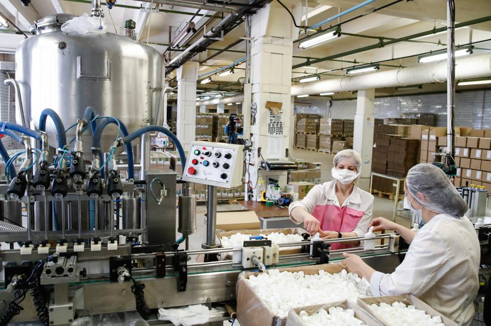 Svoboda cosmetics factory in Moscow amid COVID-19 pandemic