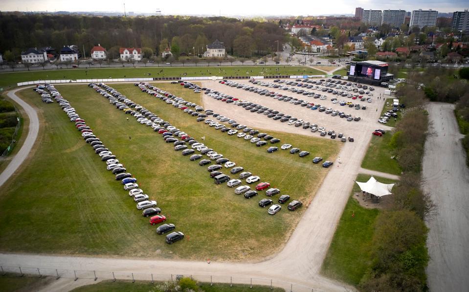 Cars parked for a concert at Tangkrogen in Aarhus, Denmark.
