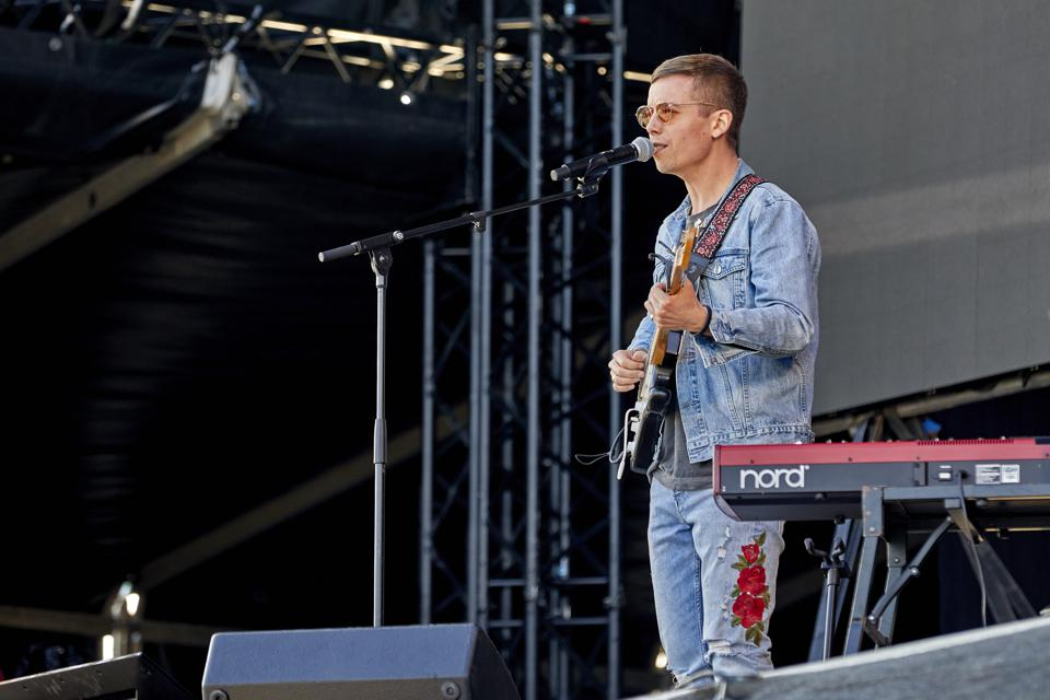 Danish singer and songwriter Mads Langer on stage in Denmark.