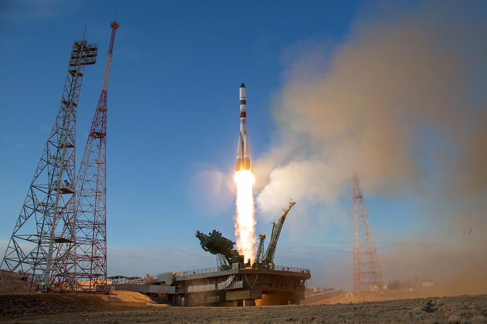 A Progress supply ship lifts off from Baikonur, Kazakhstan in April.
