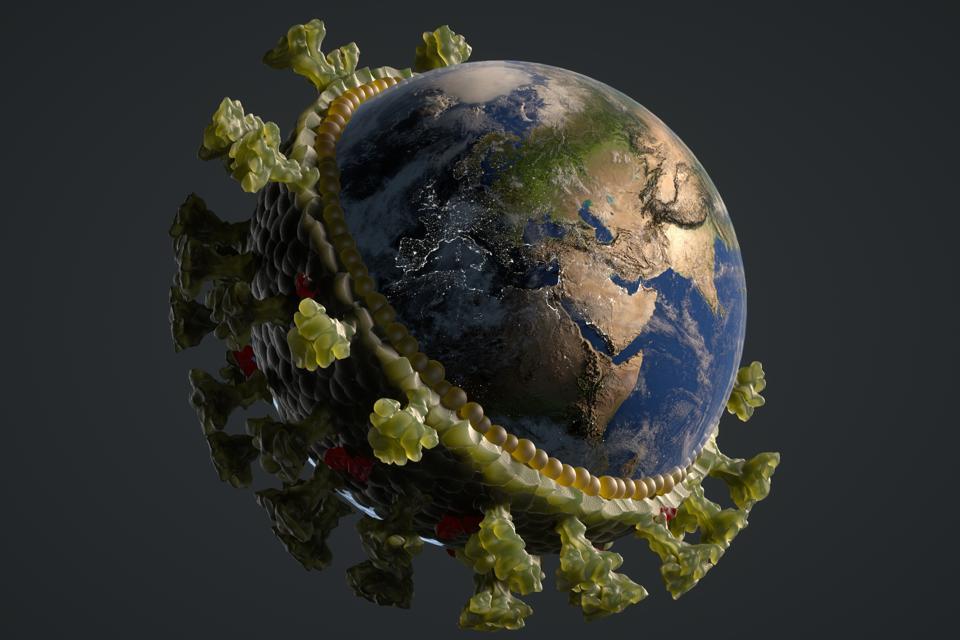 Coronavirus image and the earth