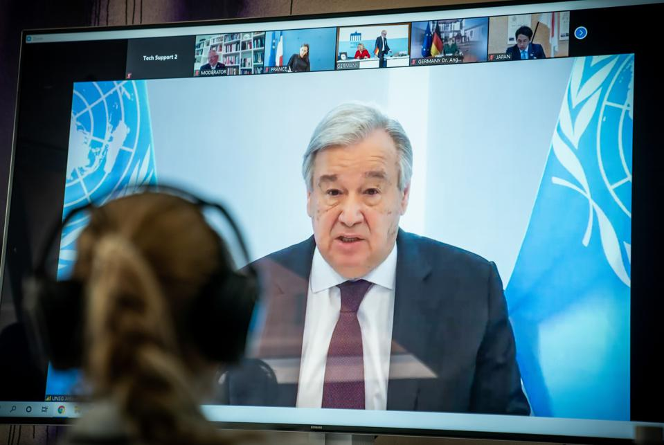 UN Secretary General addresses international climate dialogue held online.