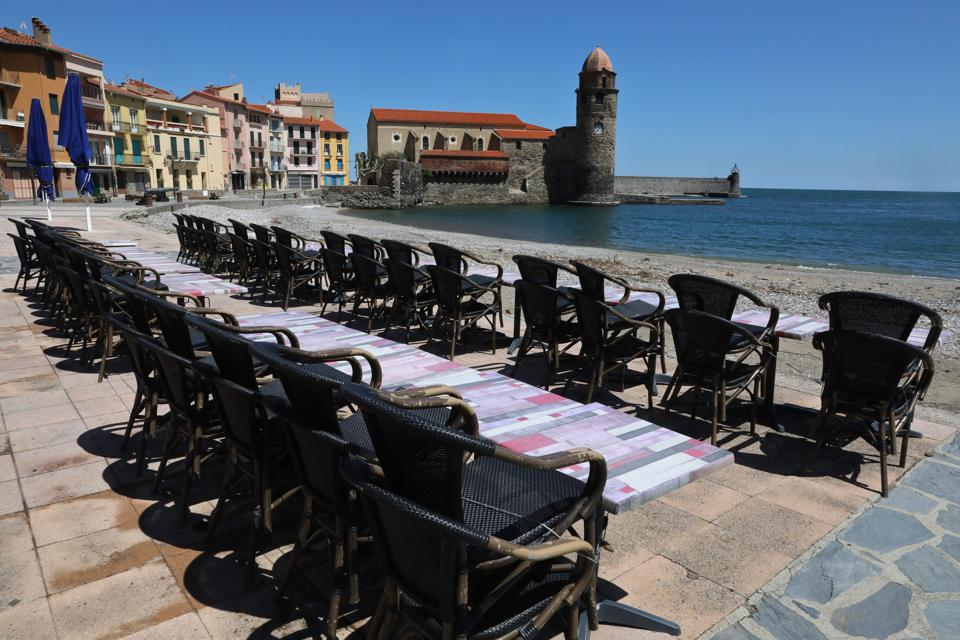 A closed bar on a beach in Collioure, southern France on the 44th day of a lockdown in France.