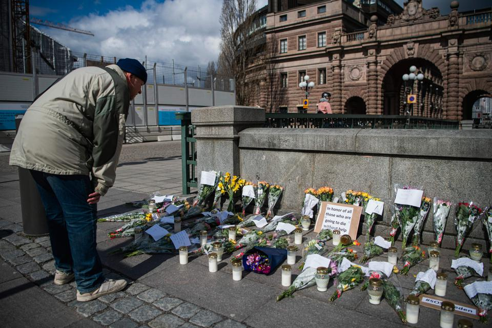 A memorial in Stockholm's Mynttorget square in memory of those lost to coronavirus.