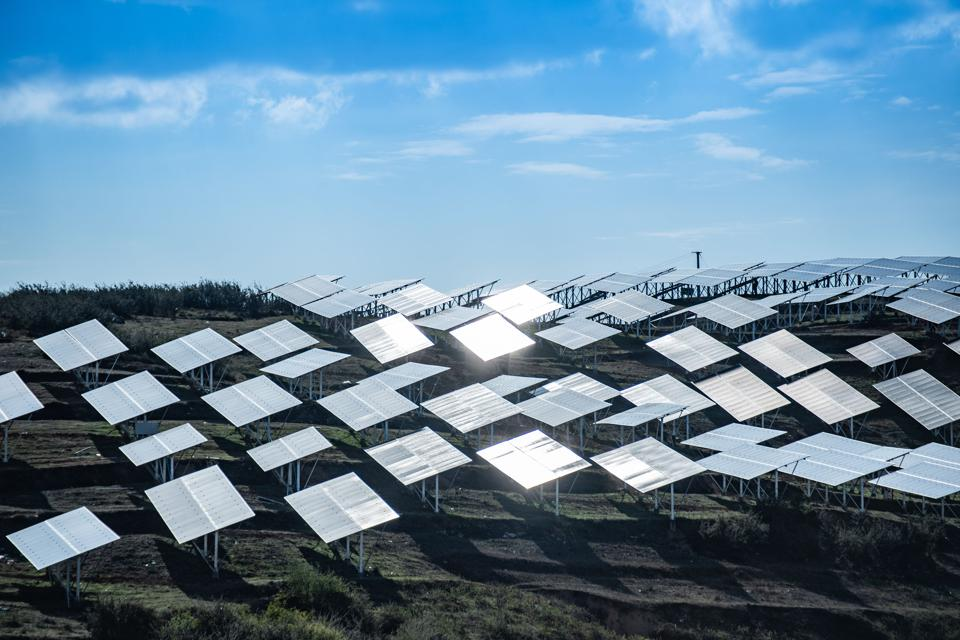 Panels at a photovoltaic power station in Weining County, southwest China's Guizhou Province.