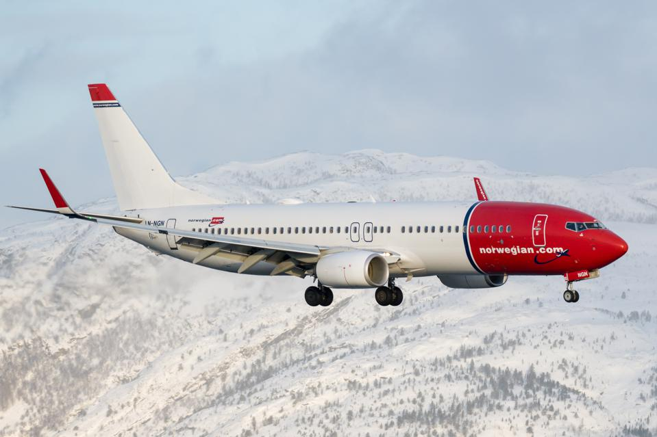 A Norwegian Air Boeing 737-800 plane lands at Alta Airport in Northern Norway.