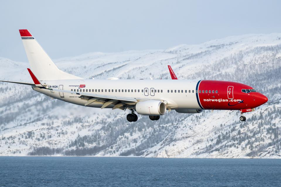 A Norwegian Air Boeing 737-800 landing at Alta Airport in northern Norway.