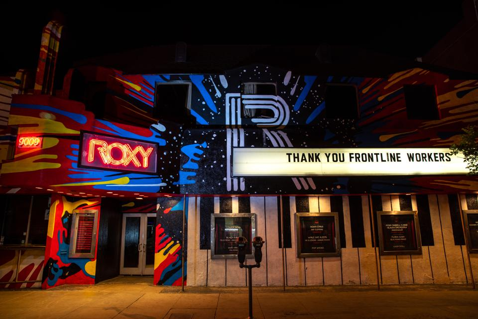 The Roxy Theatre, on the Sunset Strip, has Thank You Frontline Workers on the marquee, during the coronavirus pandemic