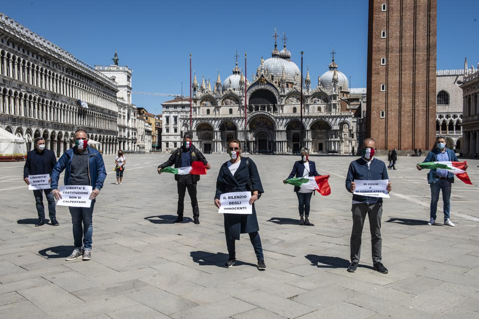 Members Of The Italian Political Party Fratelli D'Italia Demonstrating In S.Marco Square, Venice