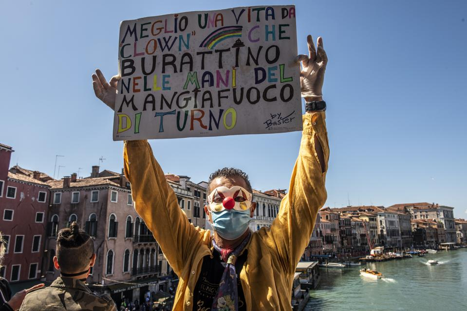Demonstration In Venice Asking The Reopening Of Bars, Restaurants, Barbers And Other Activities During The Covid19 Emergency
