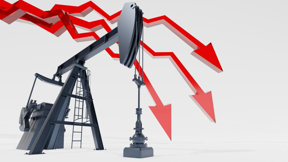 Crude oil market crash concept. Red arrow and oil pumpjack on white background. Digital 3D render.