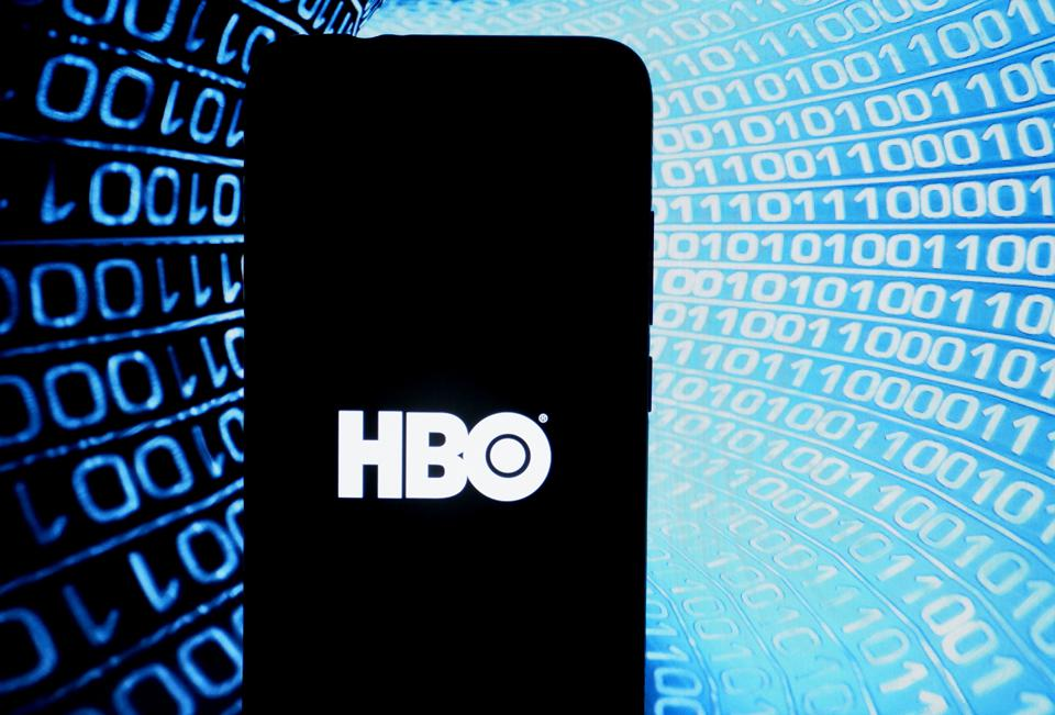 In this photo illustration an entertainment company HBO logo...