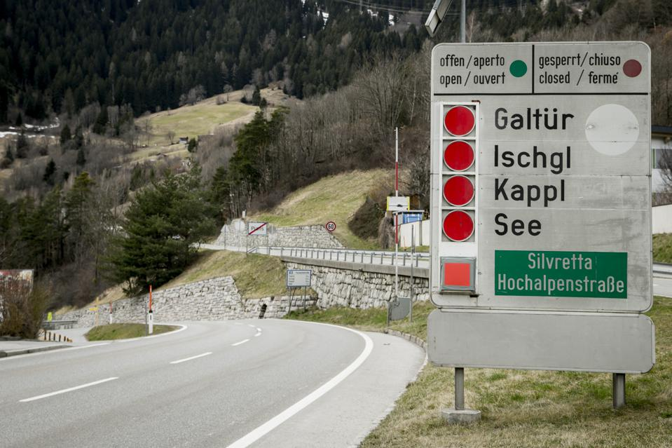 The mountain pass to Ischgl, Austria was closed on March 14, 2020 after the Tyrolean region was put into quarantine