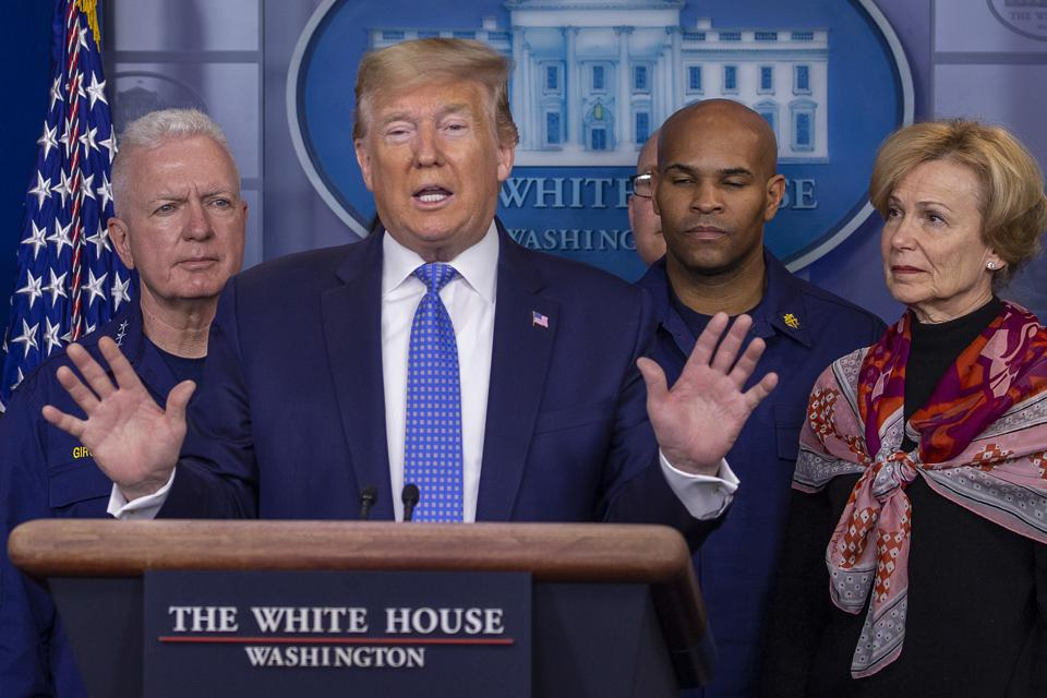 President Trump Joins Coronavirus Task Force Press Conference At White House