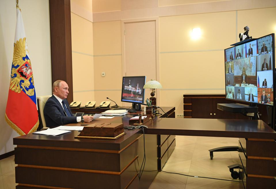 Russia's president Putin chairs government meeting on COVID-19 situation