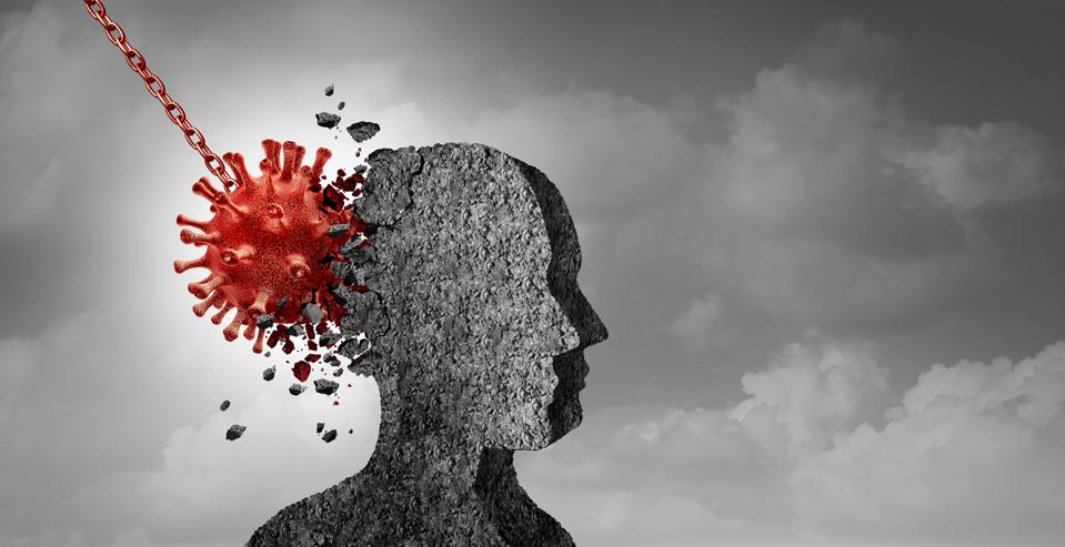 Pandemic Psychology - a covid particle smashing into a statue of a head