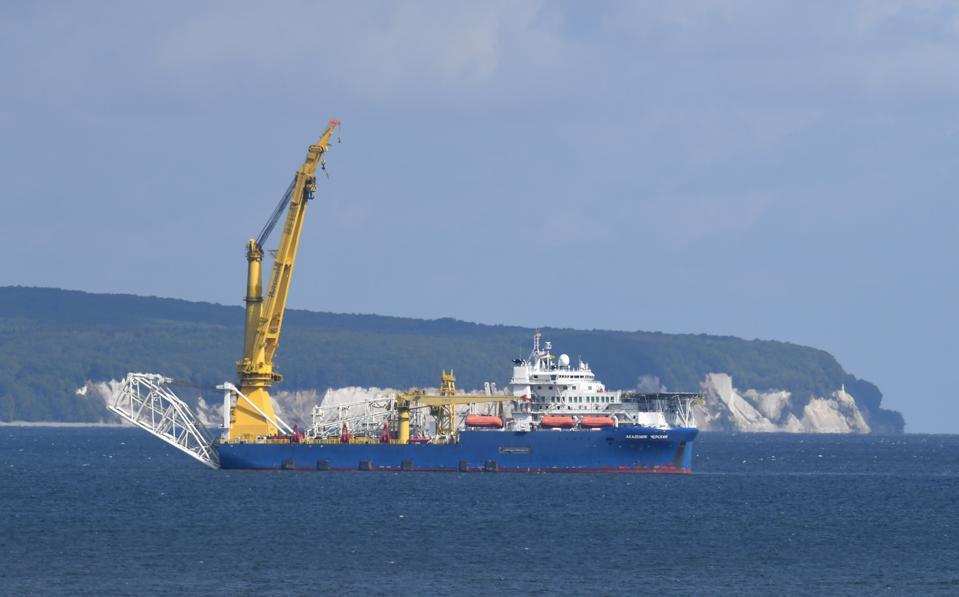 Russian laying vessel off Rügen