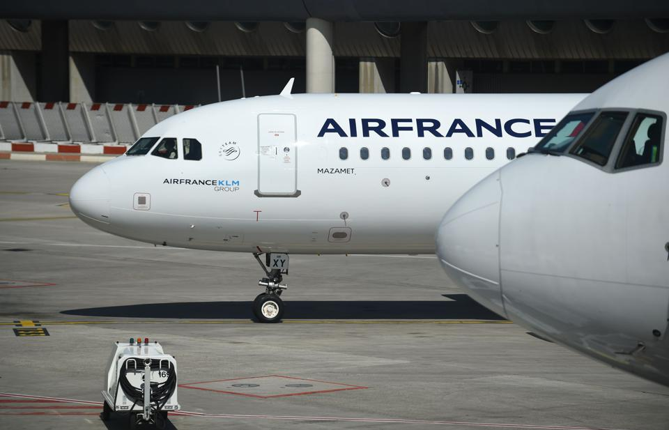 An Air France Airbus A320 jetliner at Charles de Gaulle airport, Paris on May 12, 2020.