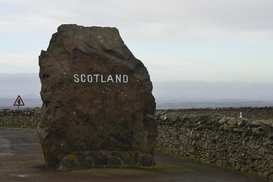 The border between England and Scotland at Carter Bar, Northumberland, UK