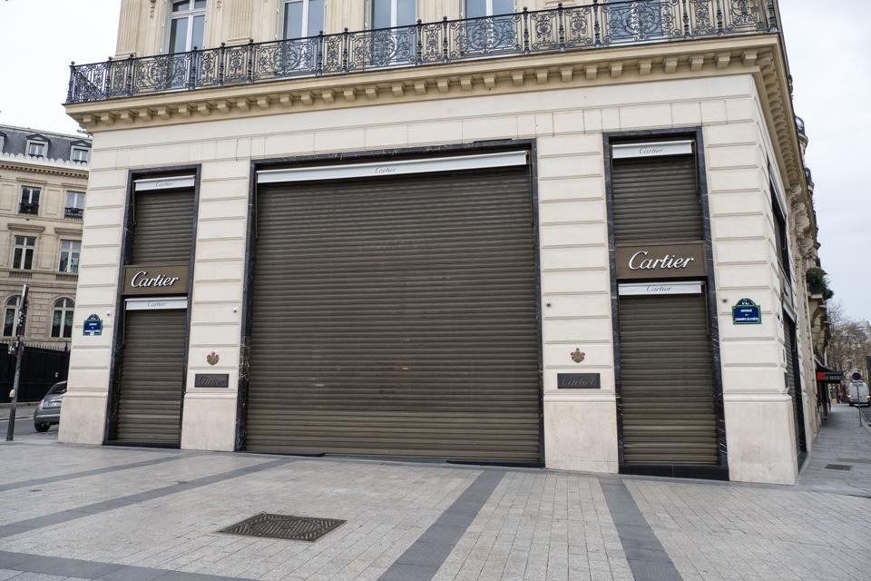 France Faces The Coronavirus cartier retail store closed