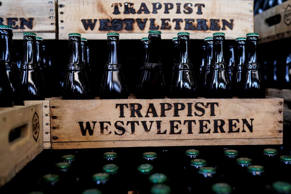 Crates of sought-after Westvleteren beer at the Saint-Sixtus abbey.