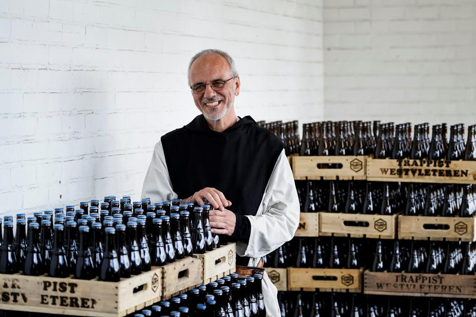 Brother Godfried in the Saint-Sixtus abbey shop, in Westvleteren on May 14, 2020 as the trappist monks resume selling their beer.