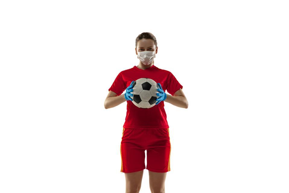 Sportswoman in protective mask, coronavirus treatment illustration concept