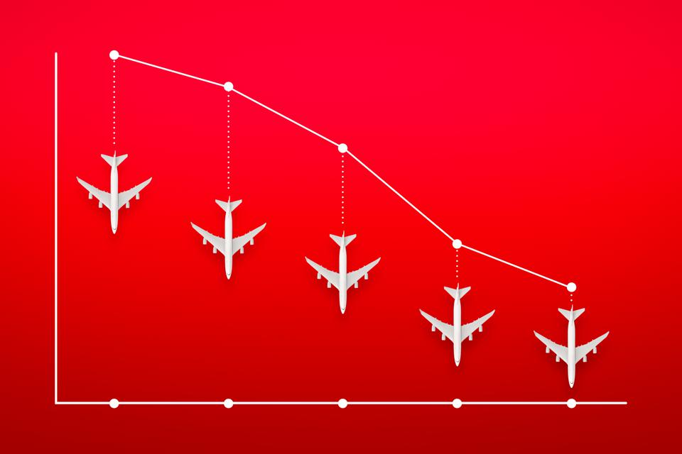 Airline Industry Recession Concept, showing graph with downward facing airplane.