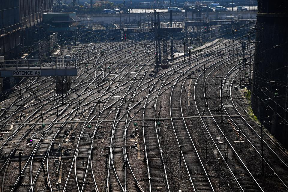 France Faces The Coronavirus lockdown travel ban train station empty