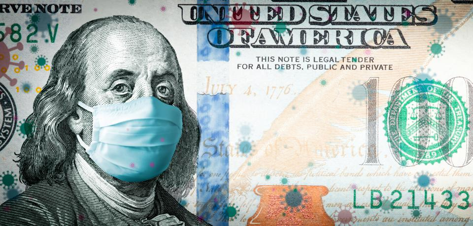 Benjamin Franklin With Face Mask On Covid-19 Virus Background
