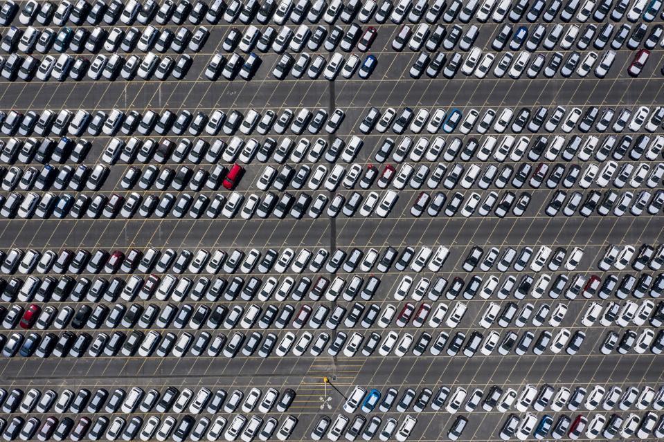 Huge parking lot of cars in Calif.