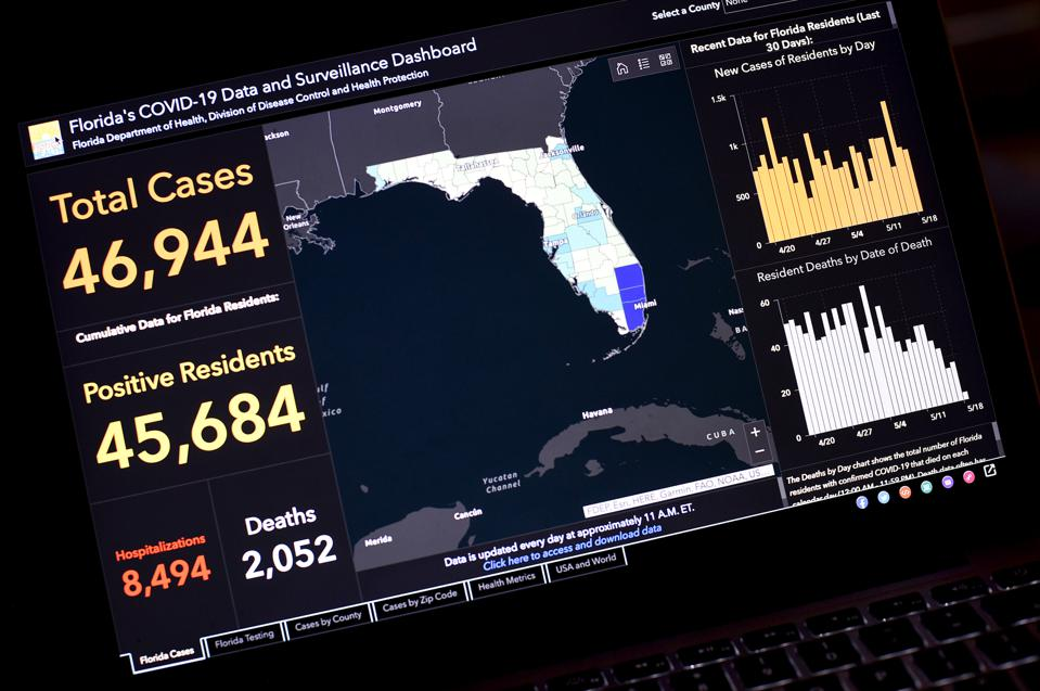 In this photo illustration the Florida's COVID-19 Data and...