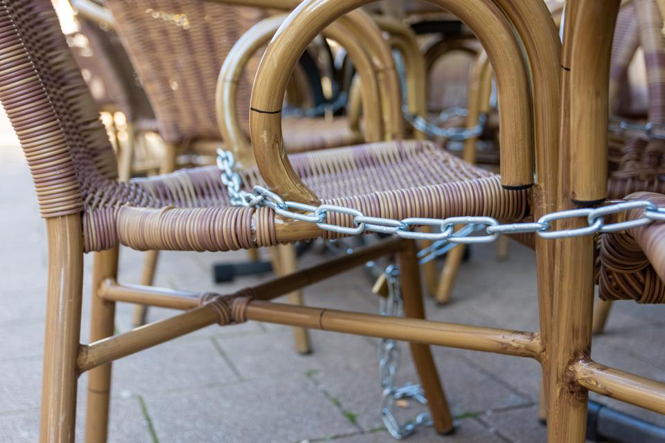 locked chairs in a city as a result of the corona virus