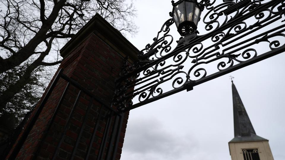 This is a photo of a gate at Harvard University, one of the universities that closed campus due to concerns about the coronavirus outbreak.