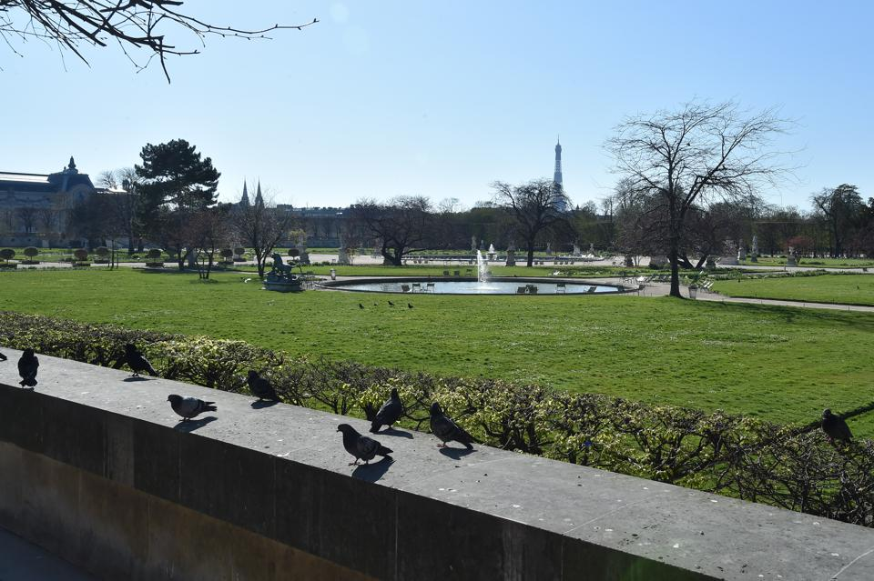 France Coronavirus Lockdown paris empty Tuileries garden closed