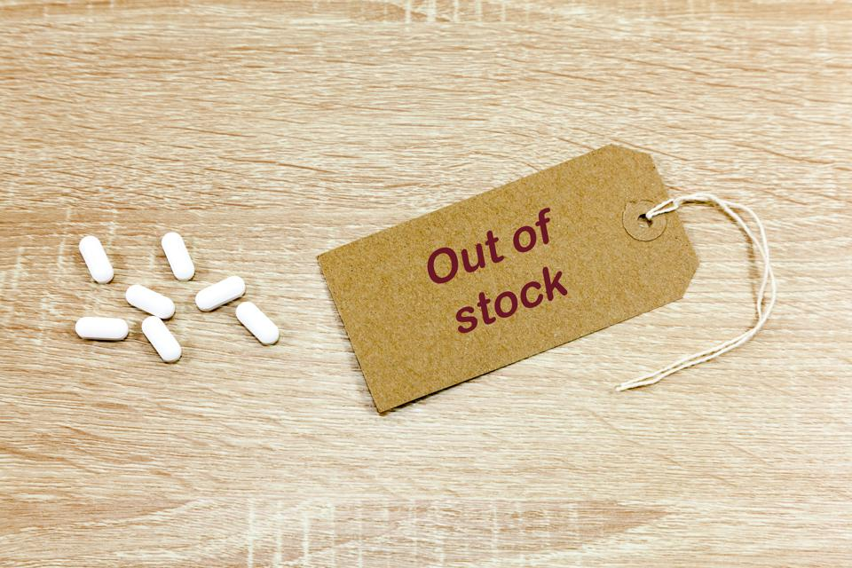 Painkiller tablets and 'out of stock' message
