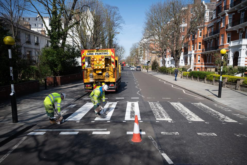 Thanks to the lockdown, the iconic zebra crossing from