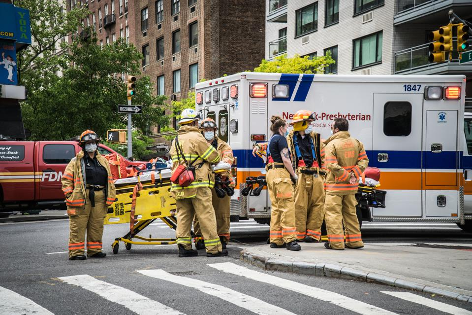 NYC Fire Department response to a fire in a high-rise...