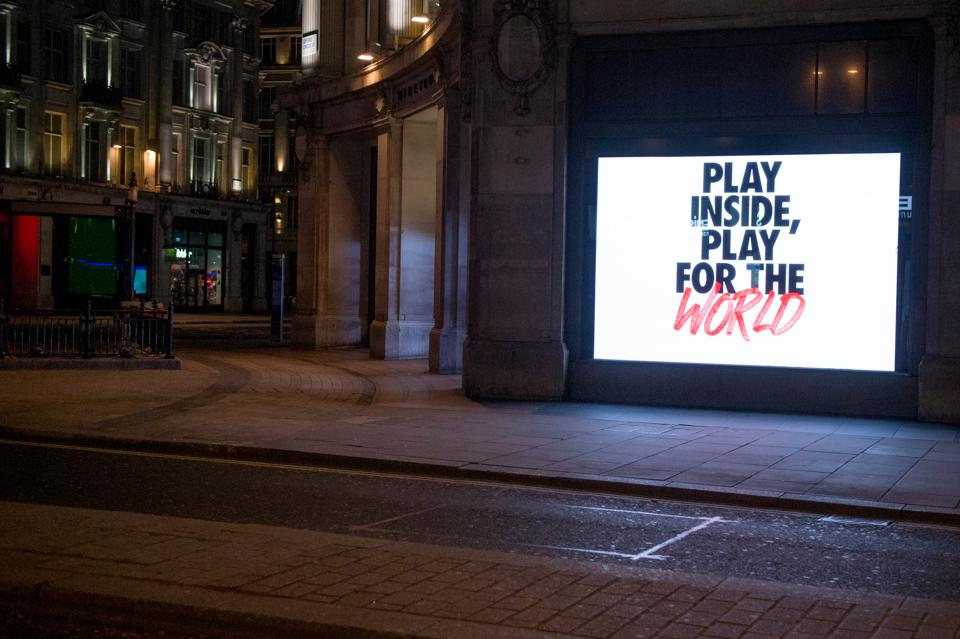 London's flagship London Store showing the new Nike play Inside, Play for the world campaign. Nike's COVID-19 community response has committied over $15 million to response efforts.