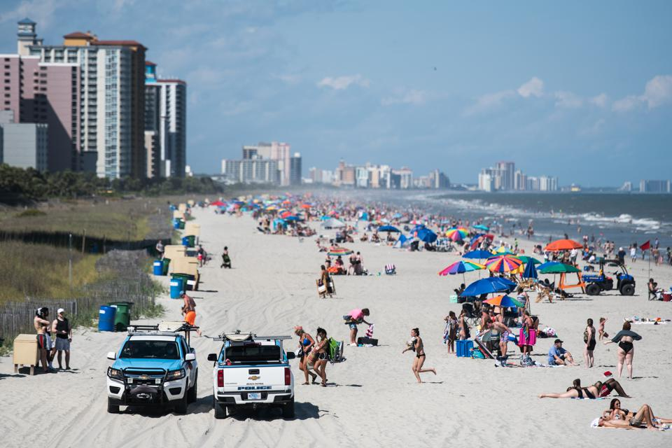 Americans Celebrate Memorial Day Weekend At Myrtle Beach As South Carolina Opens Amusement Parks