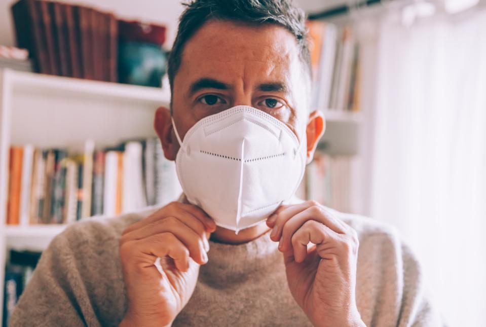Man wearing a face mask during coronavirus outbreak