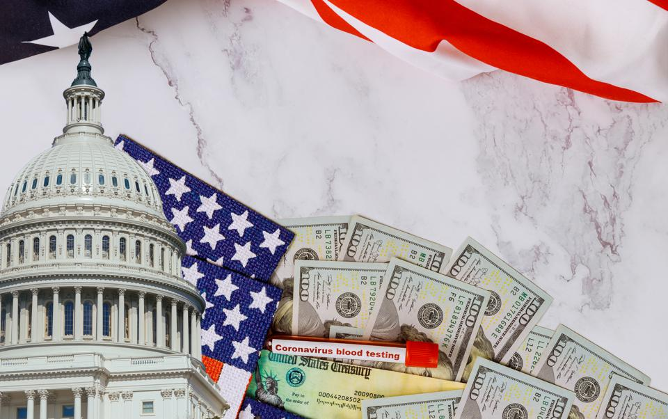 Senate and House of Representatives of the stimulus package financial package government for people American flag US dollar cash banknote United States Government