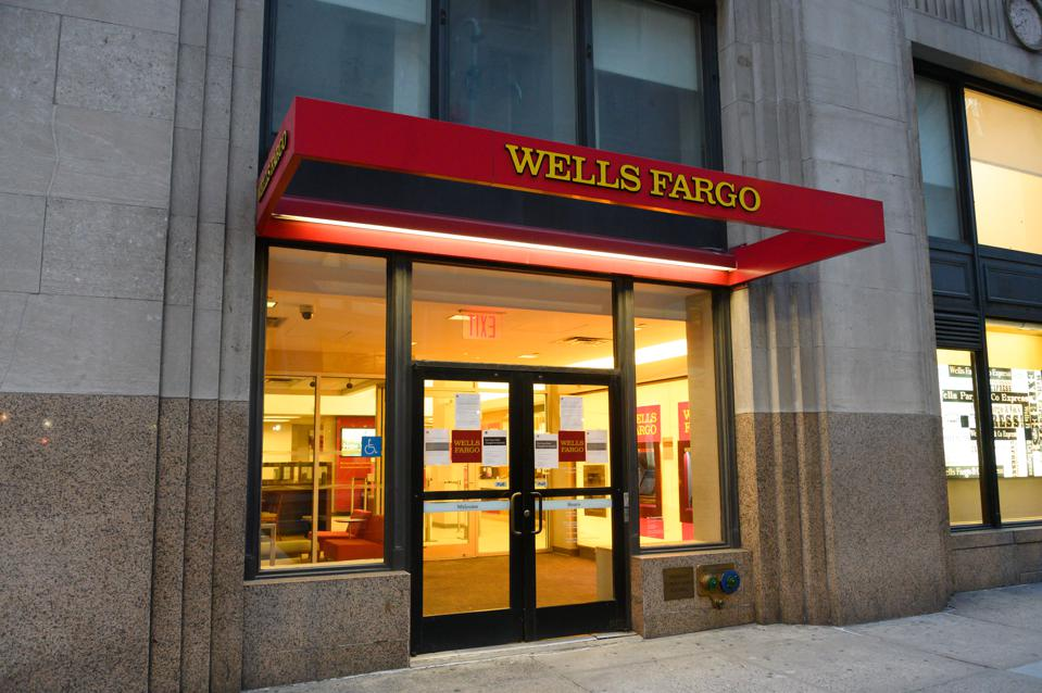 A view outside a Wells Fargo office
